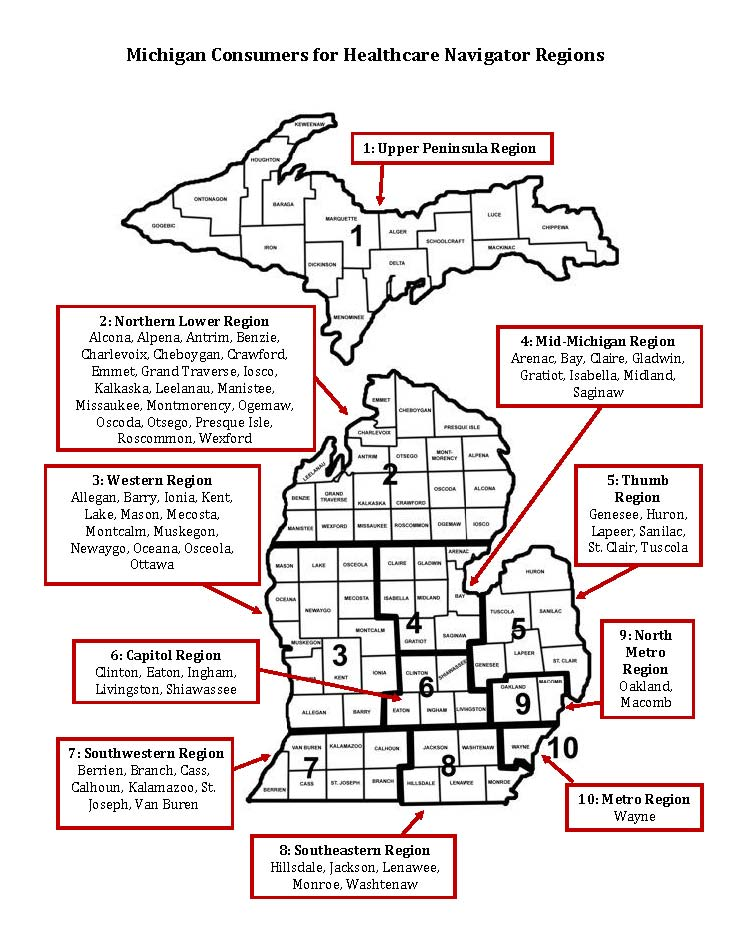 Lead Navigator Regions for Michigan Consumers for Healthcare