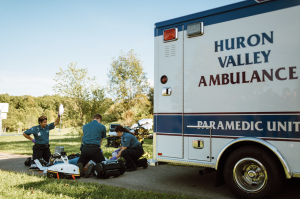 Huron Valley Ambulance staff respond to an emergency.
